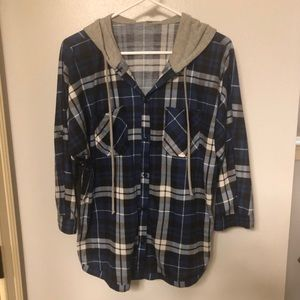 Plaid button up with hood.